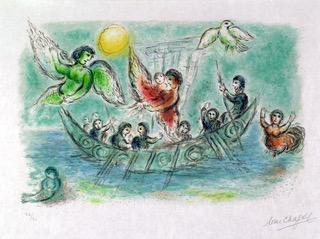 Ulysse et les Sirènes, Marc Chagall, 1975, lithographie @musées nationaux /Photo Patrick Guérin @2019 ADAGP