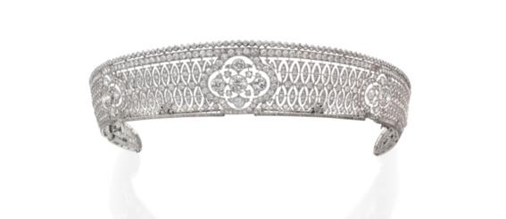 Diadème Catier en platine et diamants des années 1910