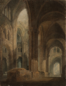 Cathédrale de Durham : intérieur, vue vers l'est le long de l'aile sud, 1797-1798, graphite, aquarelle et gouache sur papier, 75,8 x 57,9 cm, Tate, accepté par la nation dans le cadre du legs Turner 1856, Photo © Tate