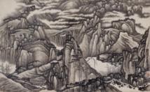 Gong Xian (1619–1689), Mille pics et ravines en myriades, dynastie Qing, vers 1670, rouleau vertical, encre sur papier, 62 × 102 cm, donation Charles A. Drenowatz, © Museum Rietberg, photo: Rainer Wolfsberger