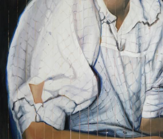 Chemisier, 2020, huile et spray sur toile, 95 x 110 cm / courtesy galerie Anne-Sarah Bénichou