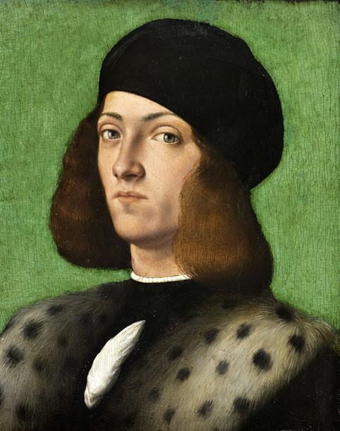 Andrea Previtali, Portrait de jeune homme au bonnet noir, début du XVIe s. Photo © RMN-Grand Palais   Fondation Bemberg   Mathieu Rabeau