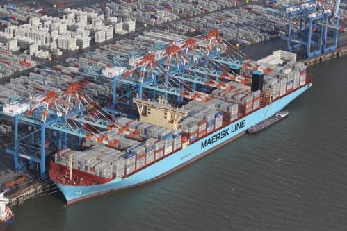 Le Mærsk Mc-Kinney Møllerla de la compagnie maritime danoise Mærsk Line (crédit Wikimedia.org)