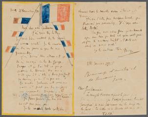 Lettre à Guillaume Apollinaire, 31 déc. 1914 © RMN-Grand-Palais/Succession Picasso