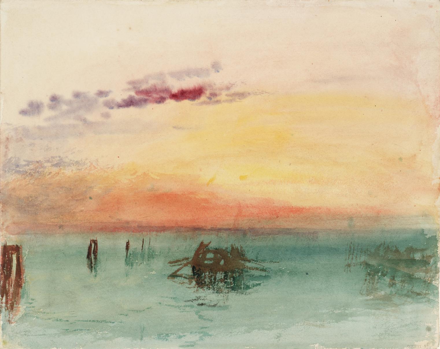 Venise, vue sur la lagune au coucher du soleil, 1840, aquarelle sur papier, 24,4 x 30,4 cm. Tate, accepté par la nation dans le cadre du legs Turner 1856, Photo © Tate