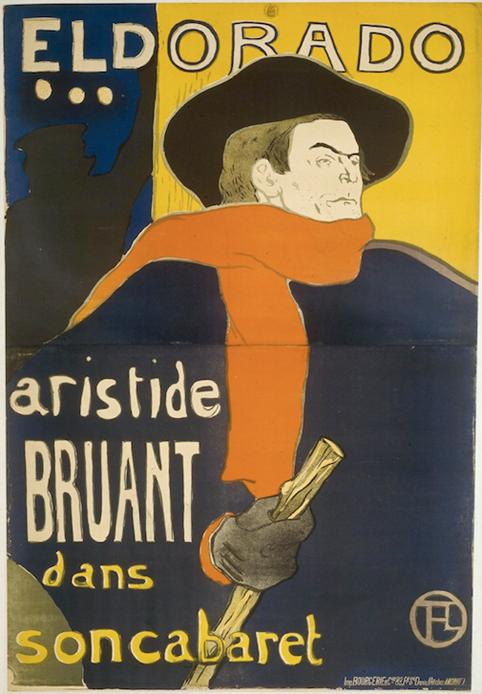 Affiche d'Eldorado – Aristide Bruant dans son cabaret – Toulouse-Lautrec. Source gallica.bnf.fr/BnF