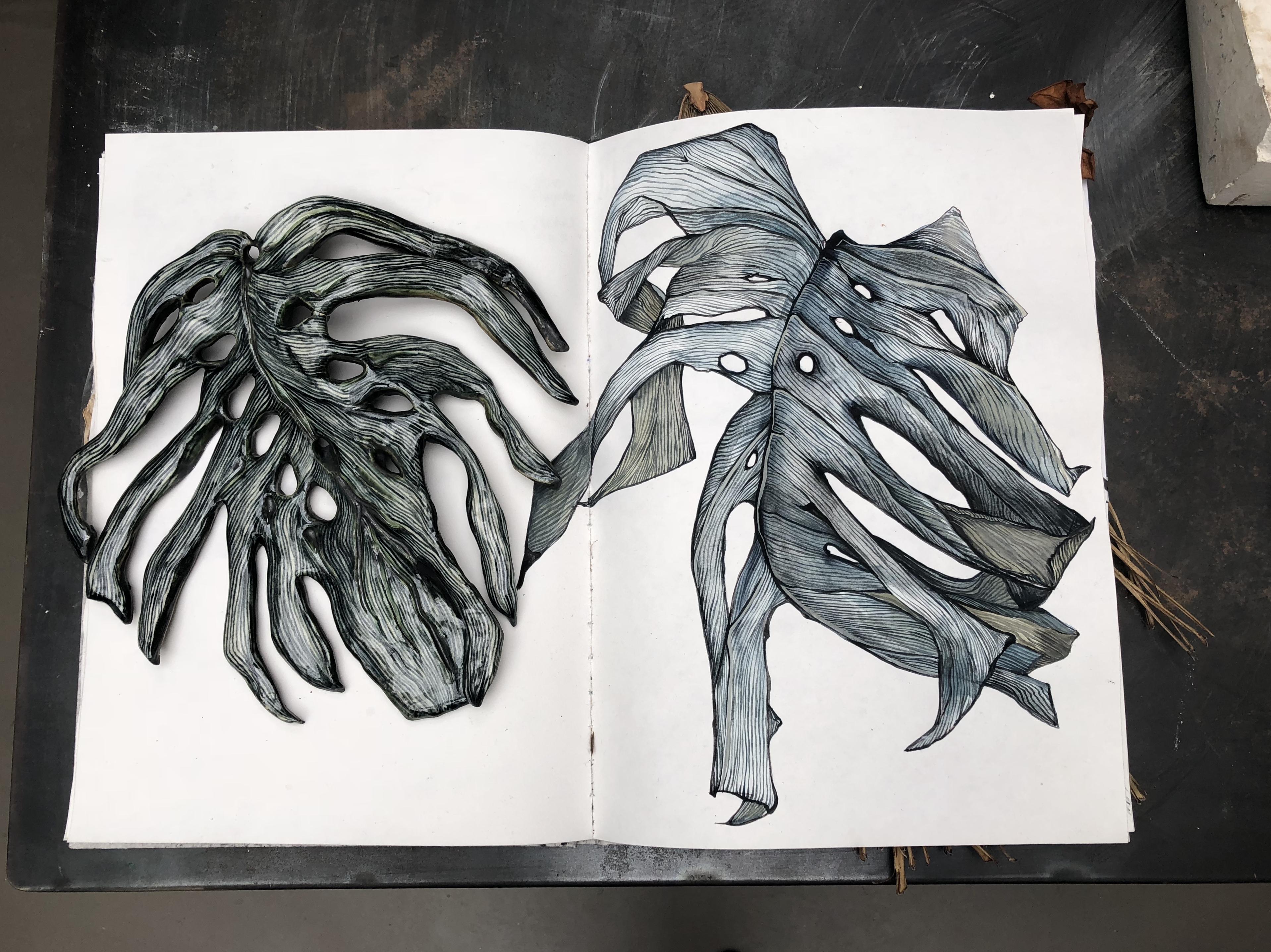 Carnet, peinture gouache et feuille de grès émaillé, 'Monstera Deliciosa'