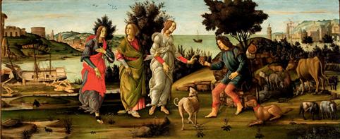 Le Jugement de Pâris, vers 1482-1485, tempera sur bois, 81 x 197 cm, Venise, Fondazione Giorgio Cini, Galleria di Palazzo Cini, Venezia  © Fondazione Giorgio Cini