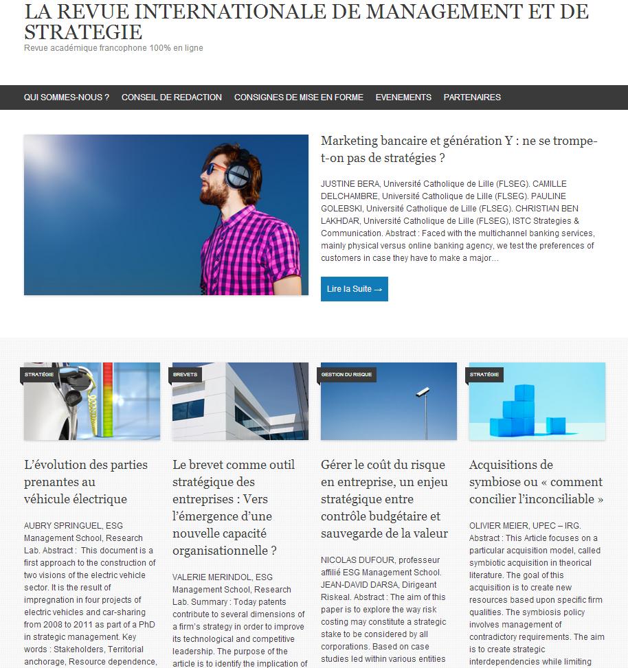 Lancement de la RMS, la revue académique 100% en ligne dans le domaine du management et de la stratégie